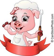 forchetta, carino, maiale, chef, presa a terra, cartone animato