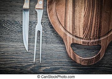 forchetta, carne, legno, vendemmia, tagliere, fondo, coltello