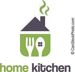 forchetta, casa, astratto, spoon., illustrazione, vettore, disegno, sagoma, logotipo