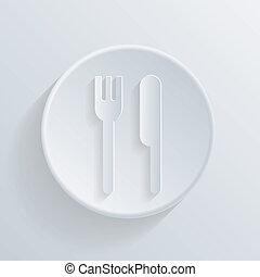 forchetta, cerchio, shadow., icona coltello