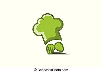 forchetta, chef, consegna veloce, cucchiaio, cappello, logotipo