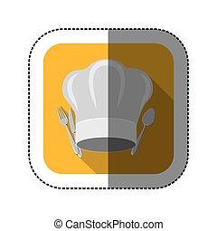 forchetta, chef, simbolo, cappello, coltello