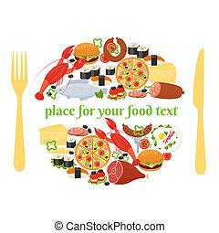 forchetta, cibo, concetto, distintivo, coltello