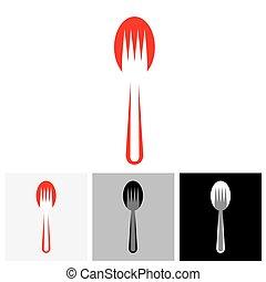 forchetta, colorito, astratto, -, disposizione, cucchiaio, vettore, icona