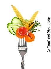 forchetta, colorito, verdura, isolato, fresco, bianco