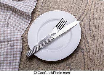 forchetta, coltello, asciugamano, vuoto, piastra