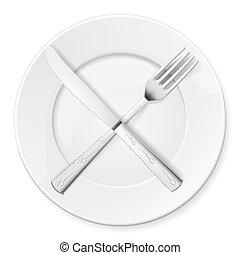 forchetta, coltello, e, piastra