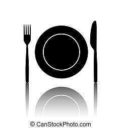 forchetta, coltello, icone
