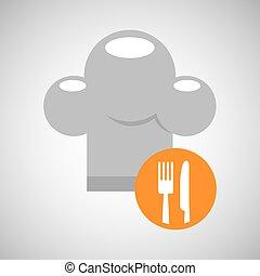 forchetta, consegna, cibo, cappello chef, coltello