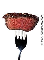 forchetta, cotto ferri, bistecca, pezzo