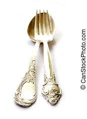 forchetta, cucchiaio, argento