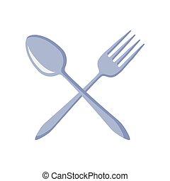 forchetta, cucchiaio, attraversato, coltelleria, cucina
