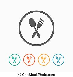 forchetta, cucchiaio, attraversato, icona