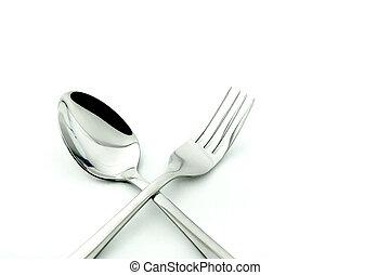 forchetta, cucchiaio, bianco, isolato, fondo
