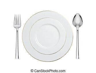 forchetta, cucchiaio, bianco, isolato, piastra