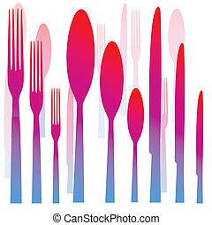 forchetta, cucchiaio, coltelleria, coltello