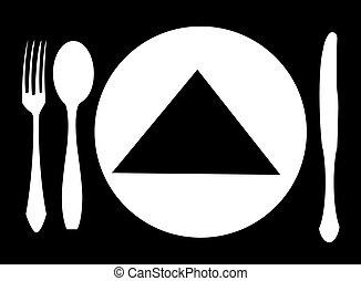 forchetta, cucchiaio, coltello, vettore