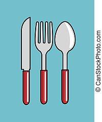 forchetta, cucchiaio, disegno, cartone animato, coltello, cucina