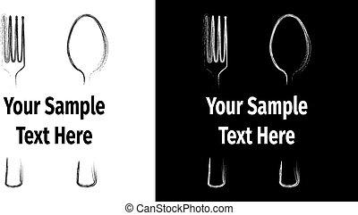 forchetta, cucchiaio, nero, pubblicità, wth, bianco, scheda