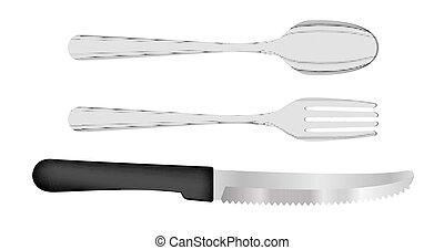 forchetta, cucchiaio, set, coltello, vettore