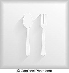 forchetta, cucchiaio, sfondo bianco