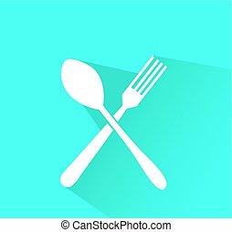 forchetta, cucchiaio, vettore, attraversato, icona