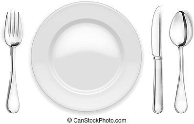 forchetta, cucchiaio, vuoto, piastra
