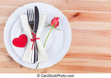 forchetta, cuore, coltello, piastra