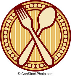 forchetta, disegno, cucchiaio, attraversato