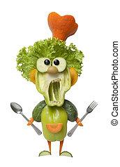 forchetta, divertente, cucchiaio, cuoco, verdura