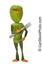forchetta, divertente, verdura, verde, ninja
