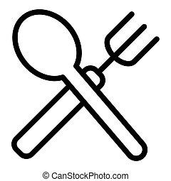 forchetta, e, cucchiaio, linea, icon., attraversato, forchetta, e, cucchiaio, vettore, illustrazione, isolato, su, white., ristorante, contorno, stile, disegno, disegnato, per, web, e, app., eps, 10.