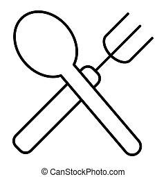 forchetta, e, cucchiaio, linea sottile, icon., attraversato, forchetta, e, cucchiaio, vettore, illustrazione, isolato, su, white., ristorante, contorno, stile, disegno, disegnato, per, web, e, app., eps, 10.