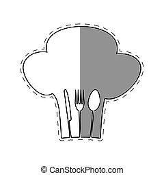 forchetta, emblema, ristorante, chef, cucchiaio, cuoco, uggia, cappello, coltello