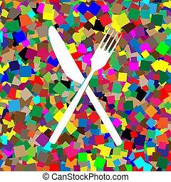 forchetta, fondo, colorito, segno., w, bianco, icona, coltello, vector.