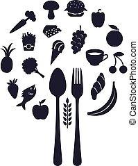 forchetta, forma, ristorante, icone cibo, illustrazione, cucchiaio, sfera, vettore