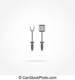 forchetta, griglia, vanga, icona