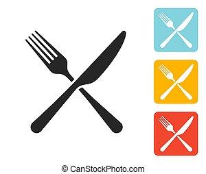 forchetta, icona, coltello, segno
