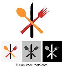 forchetta, icone, astratto, &, -, cucchiaio, simboli, vettore, logotipo, coltello, icona