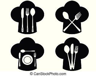 forchetta, icone, chef, cucchiaio, cappello, coltello