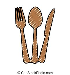 forchetta, immagine, coltelleria, cucchiaio, icona coltello