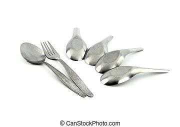 forchetta, isolato, cucchiaio, asiatico, fondo, bianco