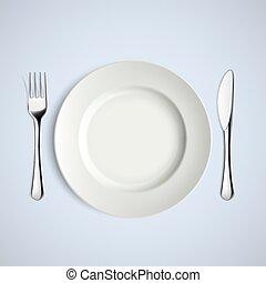 forchetta, knife., piastra bianca