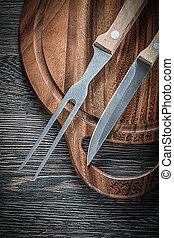 forchetta, legno, carne, tagliere, fondo, coltello