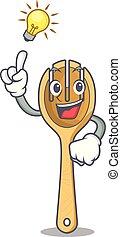 forchetta, legno, idea, possedere, cartone animato, mascotte