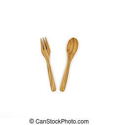 forchetta, legno, isolato, fondo., cucchiaio, bianco