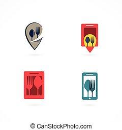 forchetta, logos, cucchiaio, set