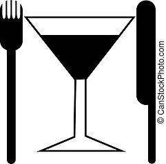 forchetta, logotipo, coltello
