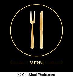 forchetta, menu, coltello, scheda