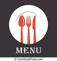 forchetta, menu, coperchio, illustrazione, cucchiaio, vettore, coltello